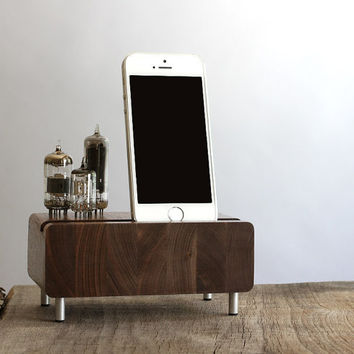 Universal charging station for iPhone Samsung Galaxy handcrafted butcher block from walnut wood with triple electron tubes - rounded edges