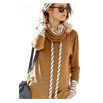 Double Layered Mock Neck Camel Sweater Top