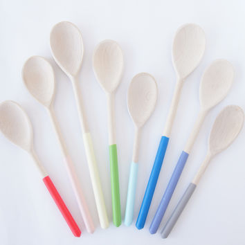 Wooden Mixing Spoons {Set of 3} Spring   Summer Colors