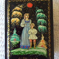 """Original Russian Palekh hand painted lacquer box """"Helen and her brother John""""signed by artist item papier mache, egg tempera, lacquer box"""