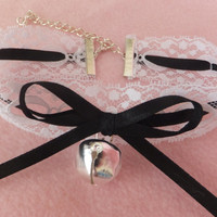 White Lace with Black Ribbon Silver Jingling Bell Cat Collar Maid Choker Human Pet Slave BDSM Costume Anime Kawaii Lolita Cosplay
