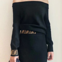 FENDI Fashion women's wear new two-piece suit with one-collar knitted half-length skirt