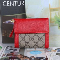 HCXX 19June 632 Gucci PCV Leather Multifunctional Wallet red