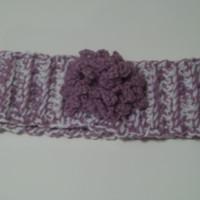 Womens and Girls Purple and White crochet head band ear warmer with pretty crochet flower, winter fashion accessories
