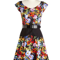 ModCloth Mid-length Cap Sleeves A-line Bright Under Your Nose Dress