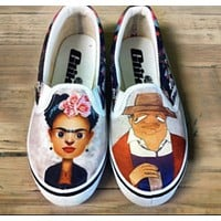 Frida Kahlo and Diego Flat Slip-on Shoes - As Is
