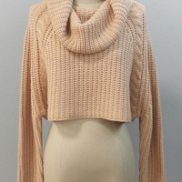 In with the Nude Roll Neck Cropped Sweater