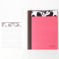 Adorable Panda Bear Patterned Lined Notebook Notepad | Cute School Supplies