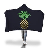 Pineapple Hearts Hooded Blanket Adult And Youth Sizes Black Color