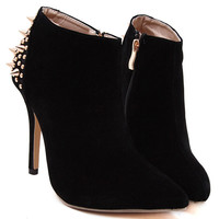 Black Suedette Studded Back Point Heeled Ankle Boots