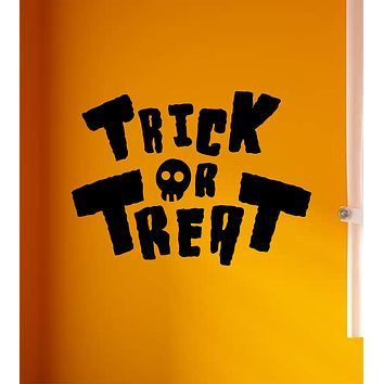 Trick or Treat Wall Decal Home Decor Vinyl Art Sticker Holiday October Halloween Pumpkin Witch Ghost Scary Skull Kids Boy Girl Family