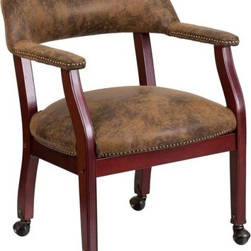 Bomber Jacket Brown Luxurious Conference Chair with Casters