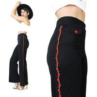 90s Black Flared Trousers Mariachi Pants Side Stripe Spanish Tuxedo Pants Womens Stretchy Pants Roses Floral Embroidered Pants Matador (S/M)
