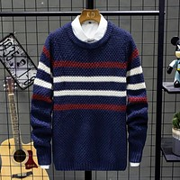Autumn New Men'S Striped Sweaters Pullover Male Slim Fit Turtleneck Sweater Tops Knitted Pullovers Knitwear