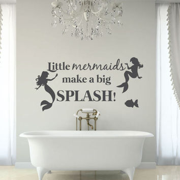 Bathroom Wall Decor - Bathroom Decor - Bathroom Art - Bathroom Wall Art - Mermaid Decor - Bathtub Art - Wall Decals - Wall Stickers - Decals
