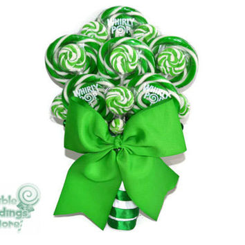 Green Lollipop Bridal Bouquet, Green, Lollipop, Wedding, Bridal, Bouquet, Candy, Spring Wedding, Green Candy Bouquet, Rehearsal Bouquet