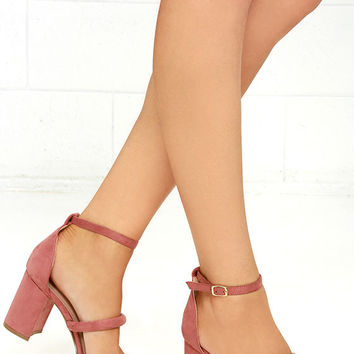 In the Now Blush Suede Ankle Strap Heels