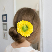 Bridal hairstyles, Yellow Green Flower brooch, Yellow Rose Flower brooch, handmade