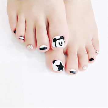 New 24 pcs Mickey Mouse Cute High Quality Full Cover French 3D ToeNails For Foot Nail Manicure Kawaii Foot False Nail [T135]