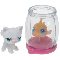 Littlest Pet Shop Goldfish in Bowl and White Cat