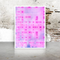 Abstract Generative Art Dividing Bubbles and Boxes growthBoxes_9o, Limited Edition Giclee 8x10, geeky wall art. purple and hot pink