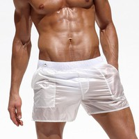 SUOTF Adult Men's Beach Pants Sexy Translucent Men's Shorts men surfing shorts board for swimw surf silver quick dry men