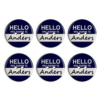 Anders Hello My Name Is Plastic Resin Button Set of 6