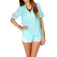 Mint V Neck Pleated Top