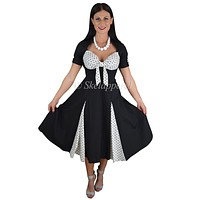 50's Rockabilly Pin up Black and White Polka Dot Party Swing Dress