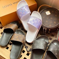 Louis Vuitton LV classic casual home beach sandals for men and women, trendy slippers sandals Shoes