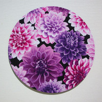 Computer Mouse Pad mousepad / Mat - Round or rectangle - purple dahlias - cubicle decor office desk gift