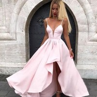 Prom Dresses Pink Ruffles V Neck Satin Evening Dresses