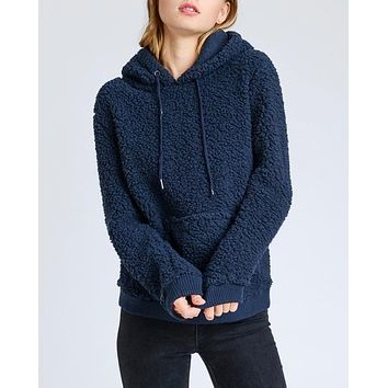 Super Soft Sherpa Front Pocket Hoodie Pullover - Navy