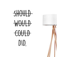 Should Would Could Wall Decals, Typography Wall Stickers, Funny Sticker, Typography Decal, Funny Wall Decal, Bedroom Decor,Office Art