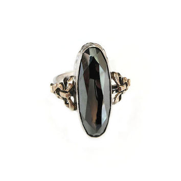 Clark and Coombs Hematite Ring, Sterling Silver, 10K Gold Filled, Vintage Ring, Vintage Jewelry