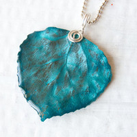 Teal Aspen Leaf Pendant, Nature Pendant, Bridesmaid Jewelry