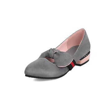Women's Round Head Bow Low Heeled Shoes
