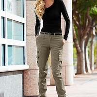 Black Ruched top, cargo pant, heel from VENUS
