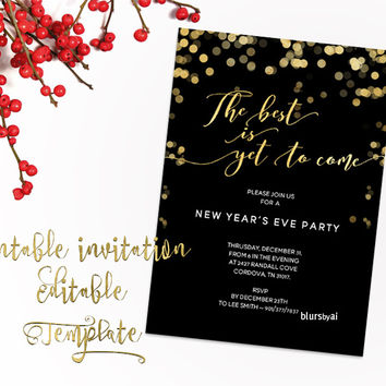 """Printable New Year's Eve party invitation template for Word, in 5x7"""" featuring gold confetti, The best is yet to come"""