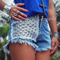 Studded shrots Levis high waisted studded denim shorts high rise jeans shorts by Jeansonly