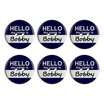 Bobby Hello My Name Is Plastic Resin Button Set of 6