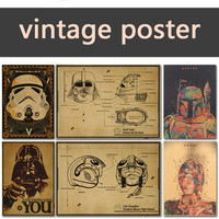 Vintage Poster Star Wars kraft paper white soldiers retro nostalgia decorative painting darth vader stormtrooper yoda  42X30CM