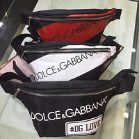 D&G DOLCE & GABBANA CANVAS CHEST WAIST PACK CROSS BODY BAG