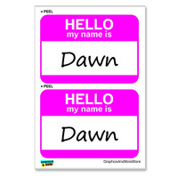 Dawn Hello My Name Is - Sheet of 2 Stickers