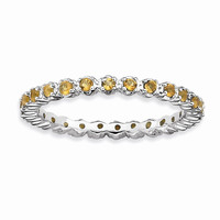 Sterling Silver Stackable Expressions Citrine Ring: RingSize: 7