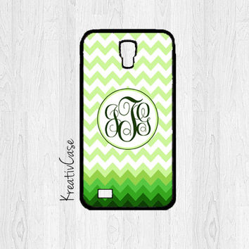 Monogrammed Galaxy S4 Case, Samsung S4 Case, Green Chevron Phone Case, Personalized Phone Cover - K201