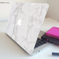 "Glossy White Marble Macbook Pro Air 13"" 11"" Decal Skin MADE IN ENGLAND"