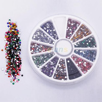 New Wheel 2mm Nail Art Glitter Tips Rhinestones Round Gems for Nail Art Nail Beauty 1EHC
