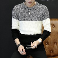 2018 New Sweater Men Autumn Hot Sale Top Design Patchwork Cotton Soft Quality Pullover Men Oneck Casual Brand Clothing