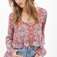 FOREVER 21 Abstract Print Ruffled Top Red/Lavender